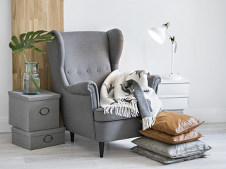 Fototapeta Relaxing reading corner with armchair. obraz