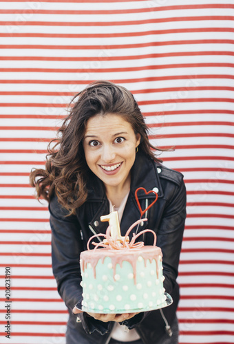 Portrait Of Woman With Birthday Cake