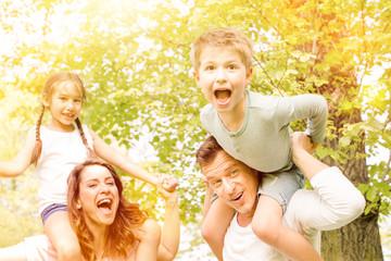 Leben heute Familie im Park