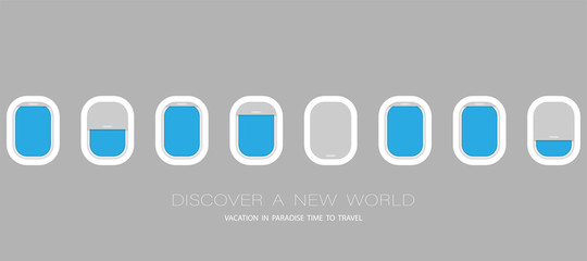 Airplane windows for your design. Flat web vector banner