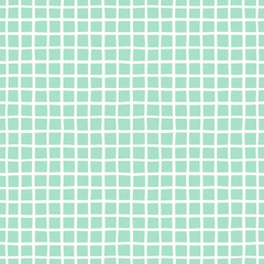 Checked, square, plaid, lattice, granting vector seamless pattern. Vertical and horizontal hand drawn uneven crossing stripes. Chequered geometrical background. White bars on mint green backdrop.