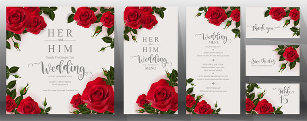 Wedding Invitation card templates with realistic of beautiful  flower on background color.  Fotoväggar