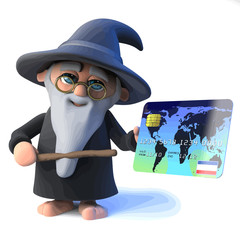 Vector 3d Funny cartoon wizard magician points his wand at a debit card