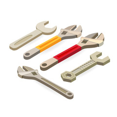 Wrench, spanner. Isometric construction tools isolated on white.
