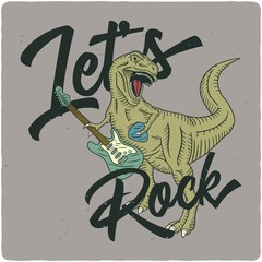 Surfing theme t-shirt or poster design with tyrannosaurus playing on electric guitar