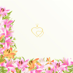Floral border festive background with blooming lilies and buds vintage vector Illustration greeting cards editable hand draw