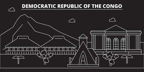 Congo silhouette, skyline. Congo vector city, congolese linear architecture, buildingtravel illustration, outline landmarkflat icon, congolese line banner