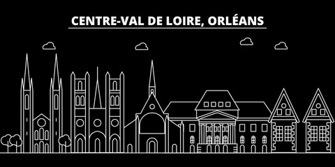Orleans silhouette skyline. France - Orleans vector city, french linear architecture, buildings. Orleans travel illustration, outline landmarks. France flat icon, french line design banner