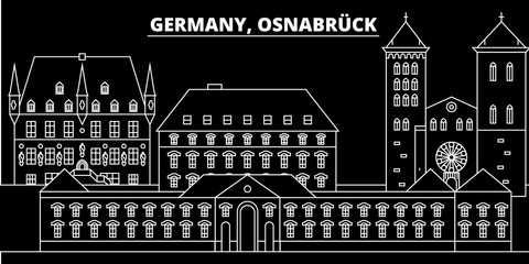 Osnabruck silhouette skyline. Germany - Osnabruck vector city, german linear architecture, buildings. Osnabruck travel illustration, outline landmarks. Germany flat icon, german line design banner