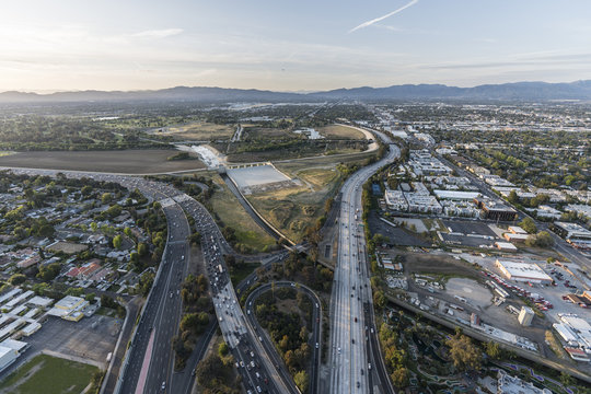Aerial view of the Ventura 101 and San Diego 405 Freeways at the Sepulveda Basin in the San Fernando Valley area of Los Angeles, California.