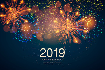 The year 2019 displayed with fireworks and strobes. New year and holidays concept. Fototapete