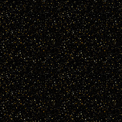 Tiny gold glittering spangles, sparks, splatter or night sky with golden stars vector seamless pattern. Hand drawn spray, splash, specks texture. Uneven dots on black background endless template.