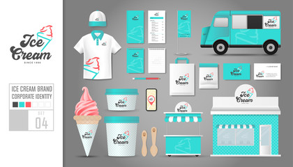 Corporate identity template Set 4. Logo concept for ice cream shop, cafe, restaurant. Realistic mock up template set of shop, car, polo shirt, cap, cup, menu, rubber stamp, coupon, package.