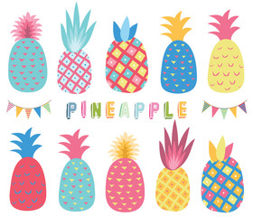 Colorful Tropicana Pineapple Elements