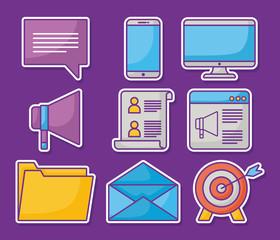 Icon set of online marketing design over purple background, colorful design. vector illusr