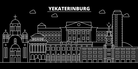 Yekaterinburg silhouette skyline. Russia - Yekaterinburg vector city, russian linear architecture, buildings. Yekaterinburg line travel illustration, landmarks. Russia flat icons, russian outline