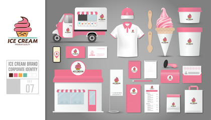 Corporate identity template Set 7. Logo concept for ice cream shop, cafe, restaurant. Realistic mock up template set of shop, car, polo shirt, cap, cup, menu, rubber stamp, coupon, package.