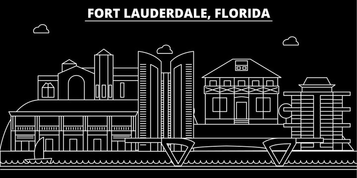 Fort Lauderdale silhouette skyline. USA - Fort Lauderdale vector city, american linear architecture, buildings. Fort Lauderdale line travel illustration, landmarks. USA flat icons, american outline