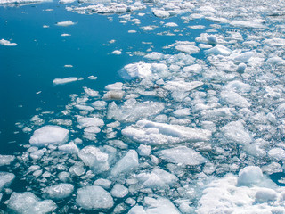 Fragments of icebergs that melt during the summer in the ocean of Alaska.