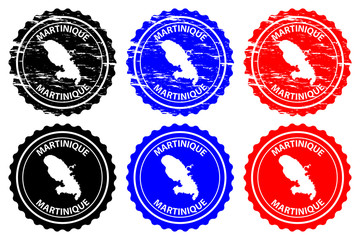 Martinique - rubber stamp - vector, Martiniquee map pattern - sticker - black, blue and red