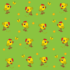 Seamless baby pattern. Little yellow chickens and butterflies. Cheerful chicks on a green background. Vector illustration