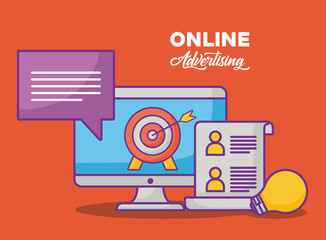 online advertising design with computer and  related icons over orange background, colorful design. vector illustration