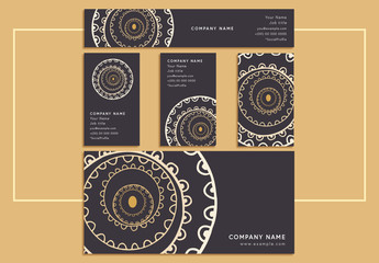 Business Identity Layout Set with Spiral Design Elements