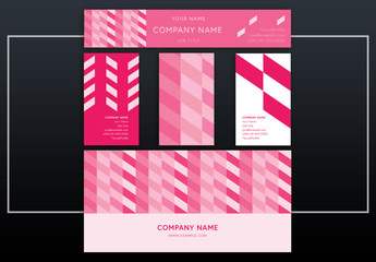 Business Identity Layout Set with Repeating Pink Stripes