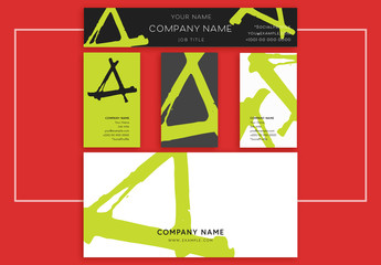 Business Identity Layout Set with Lime Green Accents