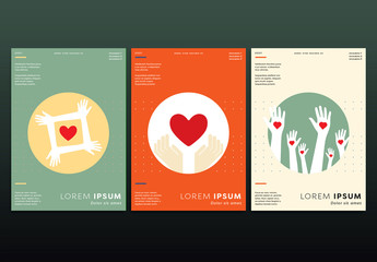 3 Flyer Layouts with Heart and Hand Illustrations