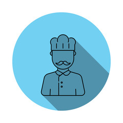 Cook avatar icon. Elements of avatar in flat blue colored icon. Premium quality graphic design icon. Simple icon for websites, web design, mobile app, info graphics