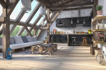 Skandinavische, nordische Küche - Wohnzimmer - Esszimmer - Wohnung