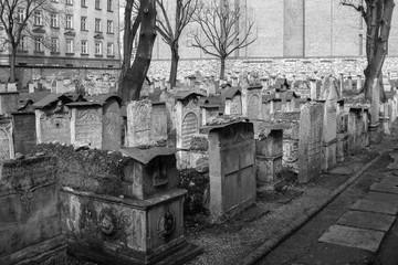 Der alte jüdische Friedhof im Bezirk Kazimierz in der Stadt Krakau in Polen.