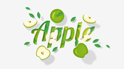 Word apple design decorated with green apple fruits and leaves in paper art style , vector , illustration