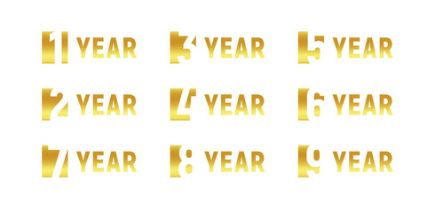 Anniversary of company, gold negative space sign, business birthday, vector logo set, golden numbers, year, num. Celebration card design element, vector anniversary icon set, invitation card.