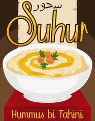 Delicious Hummus bi Tahini with Olive Oil for Ramadan's Suhur, Vector Illustration