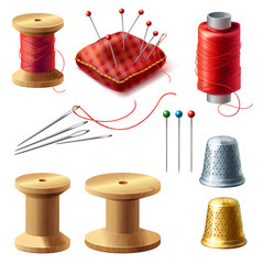 Vector 3d realistic tailor set. Wooden reel with threads, needles for dressmaking, needlework. Sewing atelier collection. Metal thimble and pin cushion for handmade, hobby