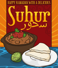 Delicious Ful Medames with Bread for Suhur Pre-fasting during Ramadan, Vector Illustration