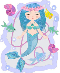 Cartoon beautiful little mermaid in a wreath. Siren. Sea theme. vector illustration on a white background.
