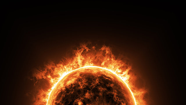 a big sun surface with solar flares and copy space on black background, global warming concept. Abstract scientific in universe background.