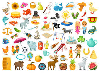 Set of stickers for children with animals, plants, food, objects, on the theme of education and entertainment.