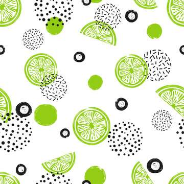 Abstract seamless lime pattern in green and black color. Citrus Fruits and dots on white background.