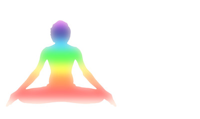 Yoga Meditation Pose with seven Energy Aura chakra isolated on white with gradient illustration red orange yellow green blue purple deep indigo white color space