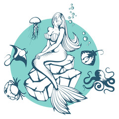 Mermaid. Hand drawn mermaid. Fantasy world. Vector graphics to design.