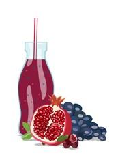 Fruit smoothie in glass jar. Vector illustration