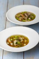 Bayerische Pfannkuchen Suppe im Teller