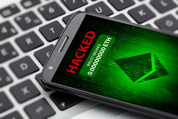 ethereum wallet hacked message on smart phone screen. cryptocurrency theft concept