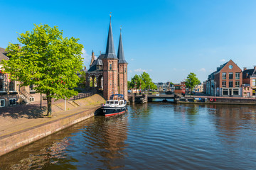 Foto op Canvas Kanaal View on the city of Sneek, Friesland, Netherlands on spring day