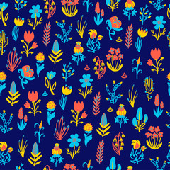Hand Drawn pattern with summer flowers and herbs vintage floral elements.