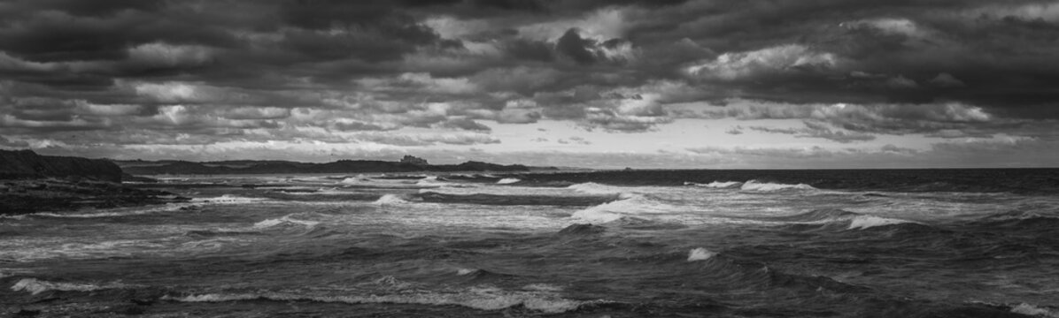 Dramatic sea view wide panorama in B&W
